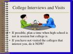 college interviews and visits