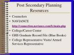 post secondary planning resources