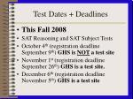 test dates deadlines