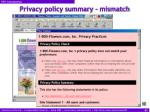 privacy policy summary mismatch