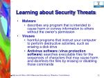learning about security threats52