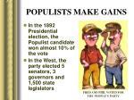 populists make gains