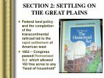 section 2 settling on the great plains