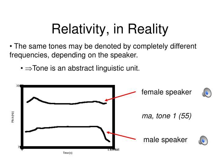 Relativity, in Reality