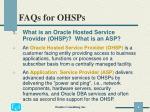 faqs for ohsps