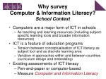 why survey computer information literacy school context