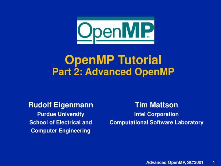 openmp tutorial part 2 advanced openmp n.