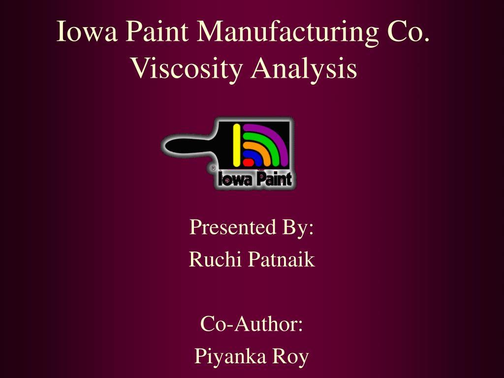iowa paint manufacturing co viscosity analysis l.