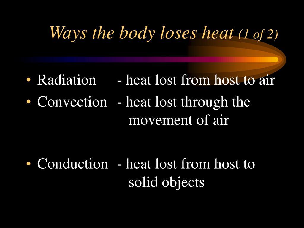 Ways the body loses heat