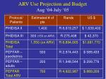 arv use projection and budget aug 04 july 05