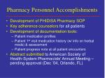 pharmacy personnel accomplishments
