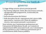 il coordinamento tra livelli di governo