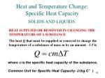 heat and temperature change specific heat capacity