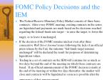 fomc policy decisions and the iem