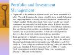 portfolio and investment management