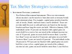 tax shelter strategies continued40
