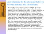 understanding the relationship between personal finance and investments