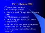 part ii sydney 2000