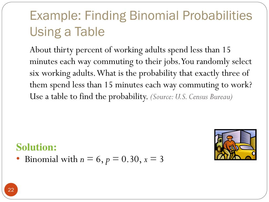 Example: Finding Binomial Probabilities Using a Table