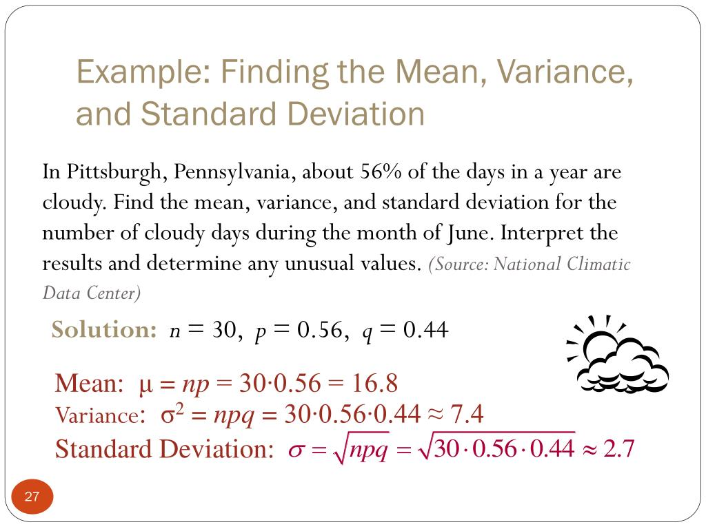 Example: Finding the Mean, Variance, and Standard Deviation
