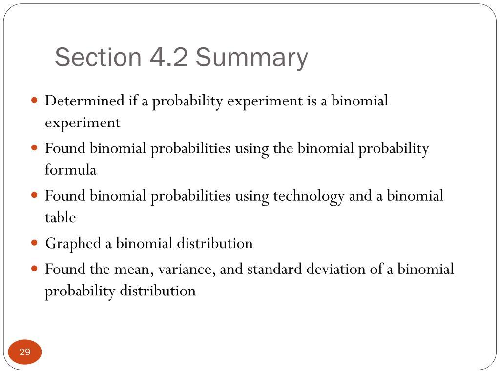 Section 4.2 Summary