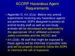 acorp hazardous agent requirements