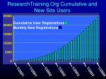 researchtraining org cumulative and new site users