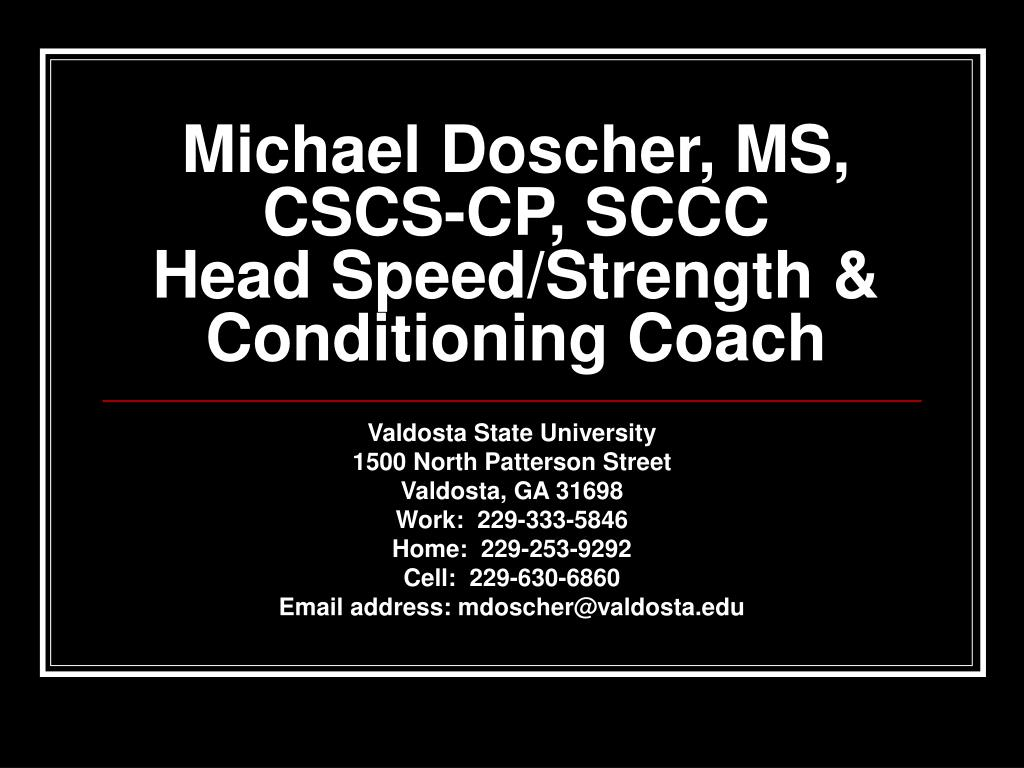 michael doscher ms cscs cp sccc head speed strength conditioning coach l.