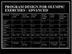 program design for olympic exercises advanced