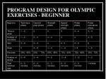 program design for olympic exercises beginner
