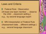 laws and criteria