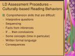 ld assessment procedures culturally based reading behaviors59
