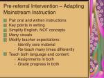 pre referral intervention adapting mainstream instruction
