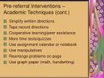 pre referral interventions academic techniques cont