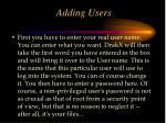 adding users