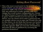 setting root password