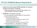 ffy 2011 rhqdapu measure requirements