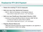 finalized for ffy 2013 payment