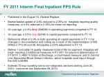 fy 2011 interim final inpatient pps rule