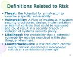 definitions related to risk
