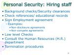 personal security hiring staff