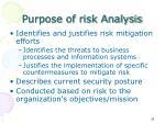 purpose of risk analysis