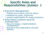 specific roles and responsibilities duties 1