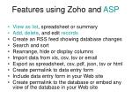 features using zoho and asp