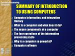 summary of introduction to using computers