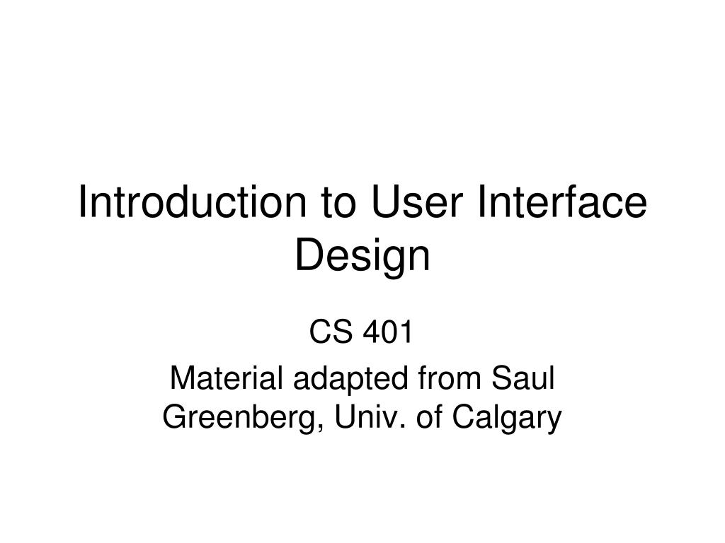 introduction to user interface design l.