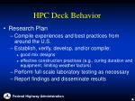 hpc deck behavior20