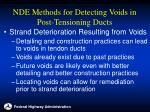 nde methods for detecting voids in post tensioning ducts