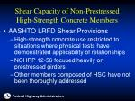 shear capacity of non prestressed high strength concrete members