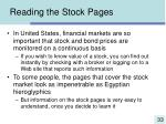 reading the stock pages